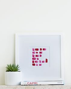"""Step Up"" from www.offyougopaperco.com This modern, geometric watercolour offers the perfect punch of colour for girls room"