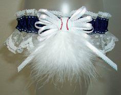 Blue and White Lace Baseball Softball Fur Prom or Wedding Garter by JazziGenShoppe