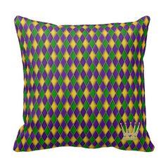 Mardi Gras Harlequin Pattern w/crown Pillows