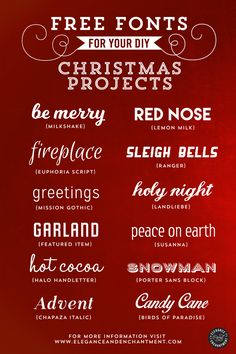 Are you looking for some great fonts for your Christmas DIY projects? Check out this list of resources from Elegance and Enchantment. You can use these for your December Daily or other holiday memo… diy Free Fonts for Christmas DIY Projects