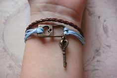 antique heart lock and key bracelet Skeleton Key by xuanqi on Etsy, $9.00  Really cute!