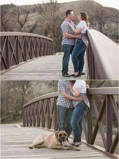 Lindsay and Richard's Engagement Session | Medicine Hat, Alberta. Cute engagement photo ideas with pet dog at sunset. Couple photo taken by Woods Photography (Canada). #photography #engagement #sunset #dog