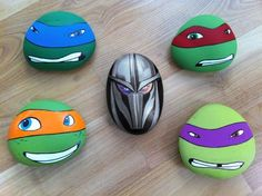 Hand-painted rocks of Ninja Turtles and Shredder!