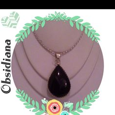Collar de  Plata con Dije de Obsidiana en Montadura de Plata Ley .925