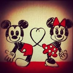 Mickey and Minnie Mouse, my favorite love story.<3