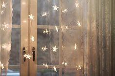 Fairy lights by window.