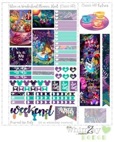 Free Printable Alice in Wonderland Planner Stickers from ohsowhimzey