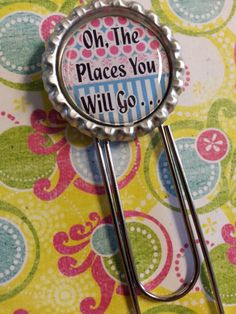 Oh The Places You Will Go Bottle Cap Paperclip by tracikennedy, $3.75