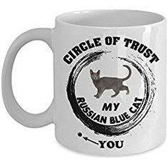 Russian Blue Cat Mug Funny Gifts for Mom Dad Grandpa Grandma - 11 Oz White Ceram