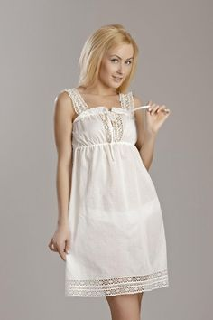Ropa Interior Vintage, Mom Outfits, Fashion Outfits, Cotton Nighties, Simple Summer Dresses, Cute Sleepwear, Pyjamas, Lace Slip, Vintage Lingerie