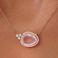 14kt gold and diamond free form rose quartz bezel necklace – Luna Skye by Samantha Conn