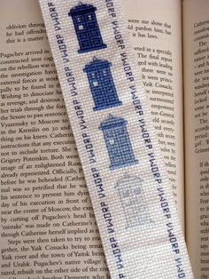 Cross-stitched disappearing TARDIS Dr. Who bookmark
