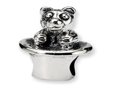 Kids Personalized Sterling Silver Bear In Hat Charm Bead (Online at Gemologica.com)