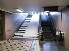 """Fun Theory created a charming piano stairs at a metro station in Stockholm, Sweden and asked, """"Can we get more people to take the stairs over the escalator by making it fun to do?"""" Yes! #TAKE10 via The KEEN Blog"""