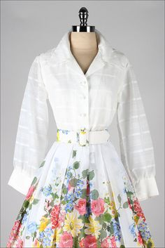 vintage 1950s dress . white cotton . floral by millstreetvintage