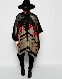 Image 1 of ASOS Cape In Geo-Tribal Design In Monochrome