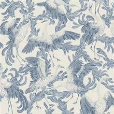 Dancing Crane Wallpaper from the Eco Simplicity Collection for Borastapeter, featuring dancing cranes shown in air force blue on a lightly crosshatched ground in dirty beige. Buy online today at F&P Interiors. Grey Wallpaper, Blue Wallpapers, Fabric Wallpaper, Bird Wallpaper, Painted Wallpaper, Beautiful Wallpaper, Crane Bird, Chinoiserie Wallpaper, Backgrounds