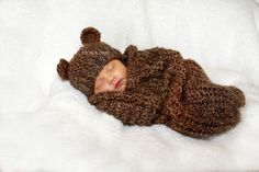 Baby Cocoon and Bear Hat Set Newborn Knit Photography by PhylPhil, $49.00