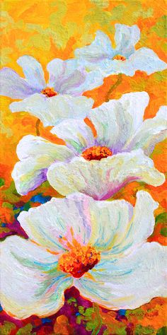 Meadow Angels - White Poppies Painting by Marion Rose - Meadow Angels - White Poppies Fine Art Prints and Posters for Sale