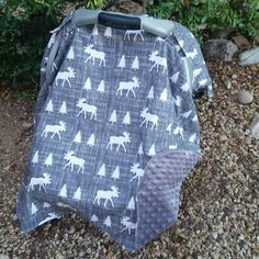 Baby Car Seat Canopy Baby Car Seat Cover Grey by KadydidDesigns