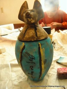 Great example of canopic jar craft Ancient Egypt: Middle Kingdom {approx. BC} and The Second Intermediate Period {approx. Ancient Egypt, Ancient History, Egyptian Artwork, Primary School Art, Canopic Jars, Schoolhouse Rock, Art Rubric, 6th Grade Art, Reunification