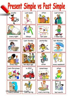 This worksheet helps S-s to practice Present Simple vs Past Simple. S-s have to make correct sentences according to the pictures. Grammar: Past simple tense; English Teaching Materials, English Speaking Skills, Teaching English Grammar, English Grammar Worksheets, English Lessons For Kids, Learn English, Tenses English, English Idioms, English Vocabulary
