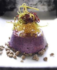 Blueberry Flan with Lavender Syrup & Triple-Candied Citrus. Want to win the Bee Pollen used in this recipe? Check out https://www.facebook.com/sallyjoseph.nutritionandwellbeing/app_522008621164365