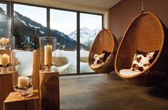 Located in Hirschegg in the Kleinwalsertal Valley, Travel Charme Ifen Hotel offers air-conditioned rooms with balcony, a m² spa area, and free Wi-Fi. Design Hotel, House Design, Indoor Hammock, Hammocks, Hammock In Bedroom, Hammock Accessories, Ways To Relax, Hanging Chair, Wicker
