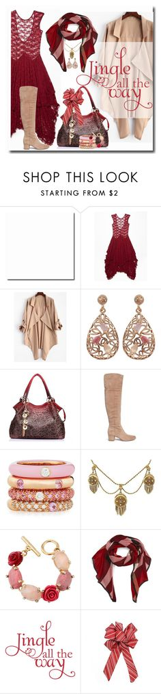 """""""Jingle all the Way"""" by ocean326 ❤ liked on Polyvore featuring Free People, Luxiro, Sam Edelman, Adolfo Courrier, Oscar de la Renta and Burberry"""