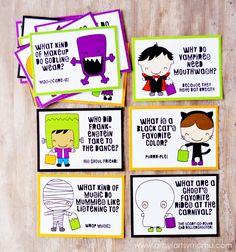 Free Printable Halloween Lunch Box Jokes at artsyfartsymama.com