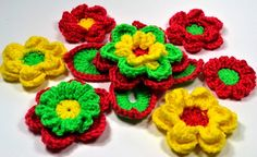Large Crochet Flower Series IV Stackers 10 Flowers/1 by jewlzs