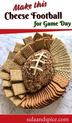 Everybody loves a good cheeseball. Make it into a football shape – perfect for tailgate or football parties. Game day food is the best! #cheeseballeasy #cheeseballsimple #tailgatefood #tailgateparty #tailgateideas