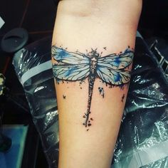 Watercolor dragonfly tattoo was one of my favorites to tattoo! #MyFavoriteTattoos
