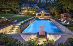 Exterior design Ideas For Modern Gazebo Pool House Designs, Swimming Pool Designs, Pergola Designs, Pergola Canopy, Pergola Patio, Backyard, Metal Pergola, Modern Gazebo, Beautiful Pools