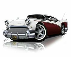 CARtoon of a classic 1957 Buick. You provide a photo of your car and our… Rat Fink, Weird Cars, Cool Cars, Cool Car Drawings, Pt Cruiser, Truck Art, Garage Art, Car Illustration, Car Sketch