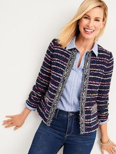 Womens Talbots Blazer Tweed Multi Navy Blazer Jacket Braided Trim Size 4 - Ideas of Womens Tweed Blazer Tweed Outfit, Tweed Blazer, Chanel Style Jacket, Boucle Jacket, Blazer Outfits, Blazers For Women, Black Blazers, Talbots, Fashion Outfits