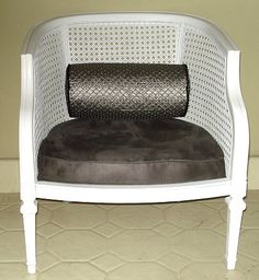 Cane back chair - white