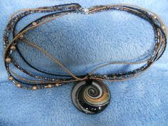 Multi-Strand Necklace with glass pendant