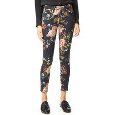7 For All Mankind The Ankle Skinny Jeans ($199) ❤ liked on Polyvore featuring jeans, ankle zipper skinny jeans, floral print skinny jeans, white denim skinny jeans, skinny ankle jeans and white jeans