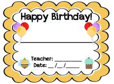 FREE!!! These are birthday certificates for any teacher to give to ...
