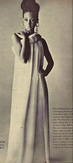 Marisa Berenson in dress with fur collar
