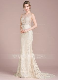 [AU$ 272.00] Trumpet/Mermaid Scoop Neck Sweep Train Lace Wedding Dress With Beading Sequins Bow(s) (002118450)