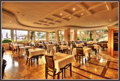 Restaurants (indoor and outdoor with a capacity of 400 people) Alanya Beach Hotels, Restaurants, Indoor, Table Decorations, People, Travel, Furniture, Home Decor, Alanya