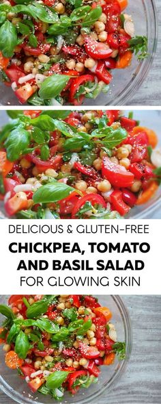 Amazing, quick and easy tomato, basil and chickpea salad. A healthy dinner for busy weeknights and very refreshing and light during summer. Vegan and gluten-free salad.