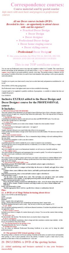 Correspondence Course 4 Interior Design Courses, Interior Styling, Interior Decorating