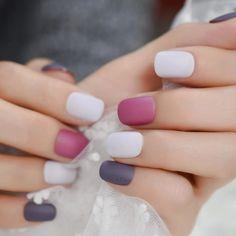 Purple Matte Squoval Faux Nails – Fake Nail Store Rounded Nails, Nail Store, Nail Length, Nail Set, Short Nails, Nail Tips, Purple, Beauty, Nail Hacks