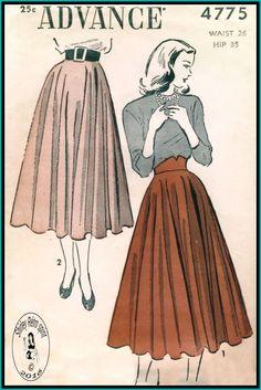 Advance 4775-1948  Vintage Sewing Patterns Advance 1940s Skirts Circle Skirts Contour Belt
