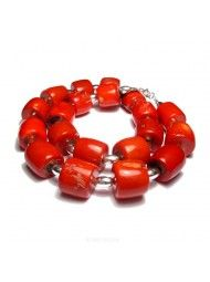 Handmade Red Coral Necklace big Coral beads 18""