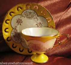 Vintage Tea Cup & Saucer Norleans Japan Yellow w/mult-color Pearl Luster Pierced   eBay