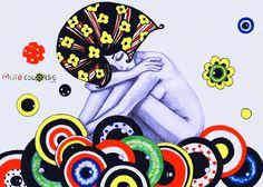 """""""Lá vem ela toda Estranha Despenca contemplação  Ocê é Rosa pra si ama Pra drumi nu canto duoiá Feita pra decorá Corações Disavisados  A Senhorita vive nua  Oh Lua de Butão!  Pumodiqui Ocê  Tens Beleza Acumulada uai!  {Ju Rossi} - Flor di Tulipa - 2012  Marker sobre papel sulfite A4  Coleção Muié Colores"""